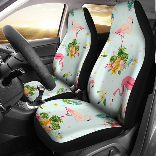 Flamingo Tropical Flower Pattern Universal Fit Car Seat Covers