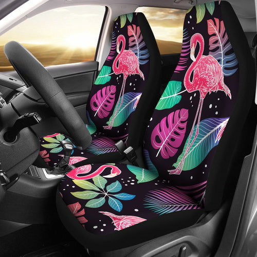 Flamingo Tropical leaves Neon Print Universal Fit Car Seat Covers