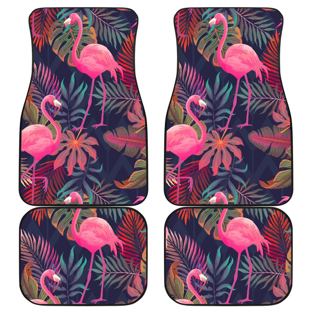 Flamingo Tropical Pattern Front and Back Car Floor Mats