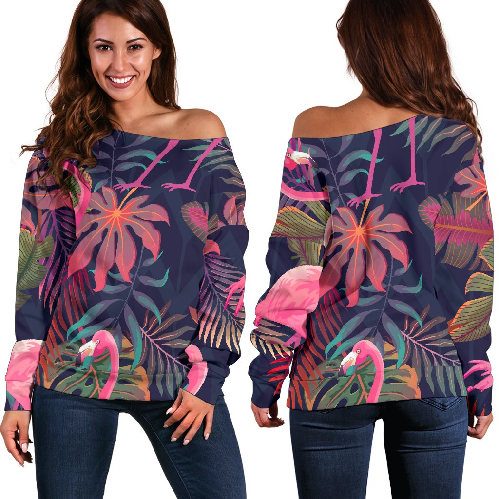 Flamingo Tropical Pattern Off Shoulder Sweatshirt