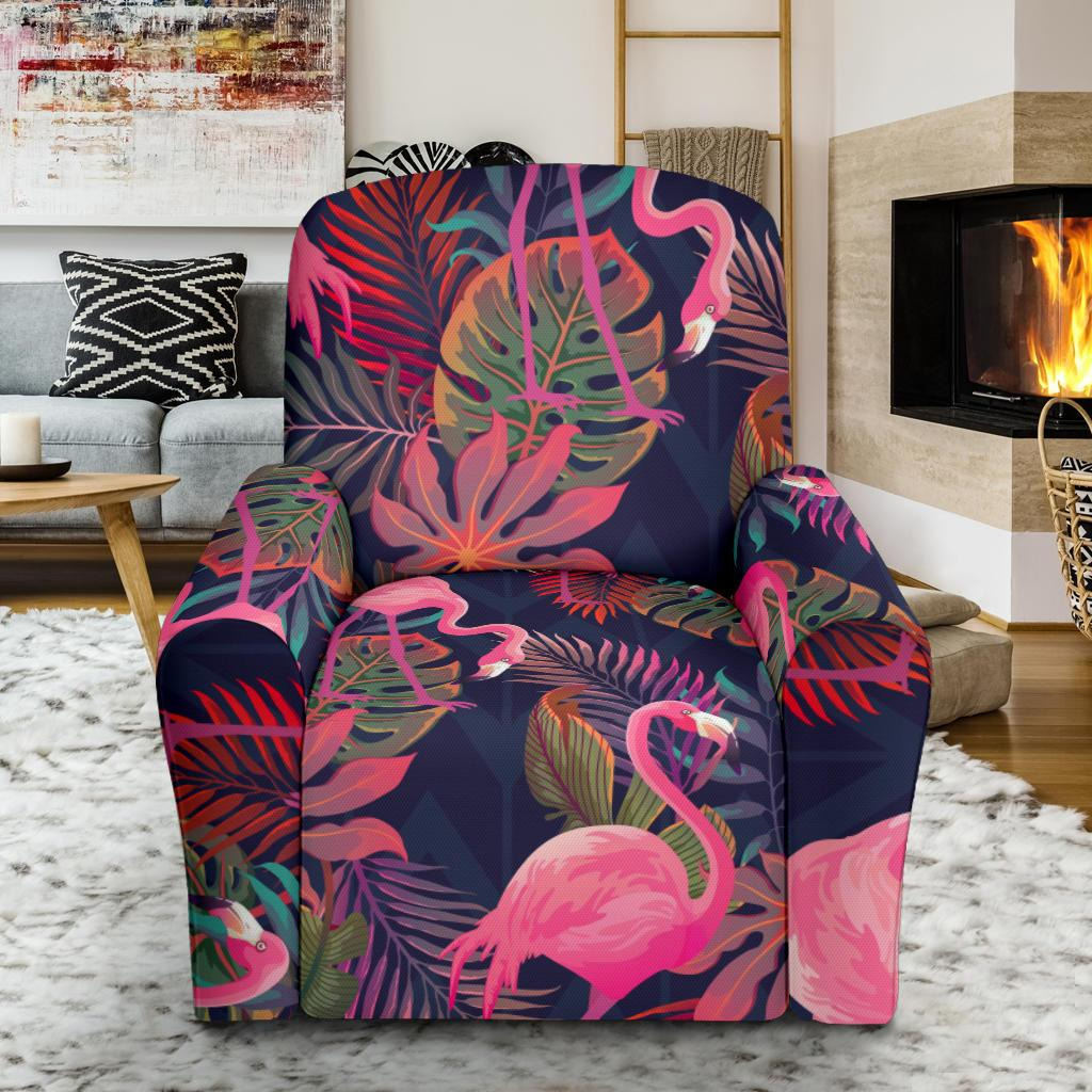 Flamingo Tropical Pattern Recliner Slipcover-JORJUNE.COM