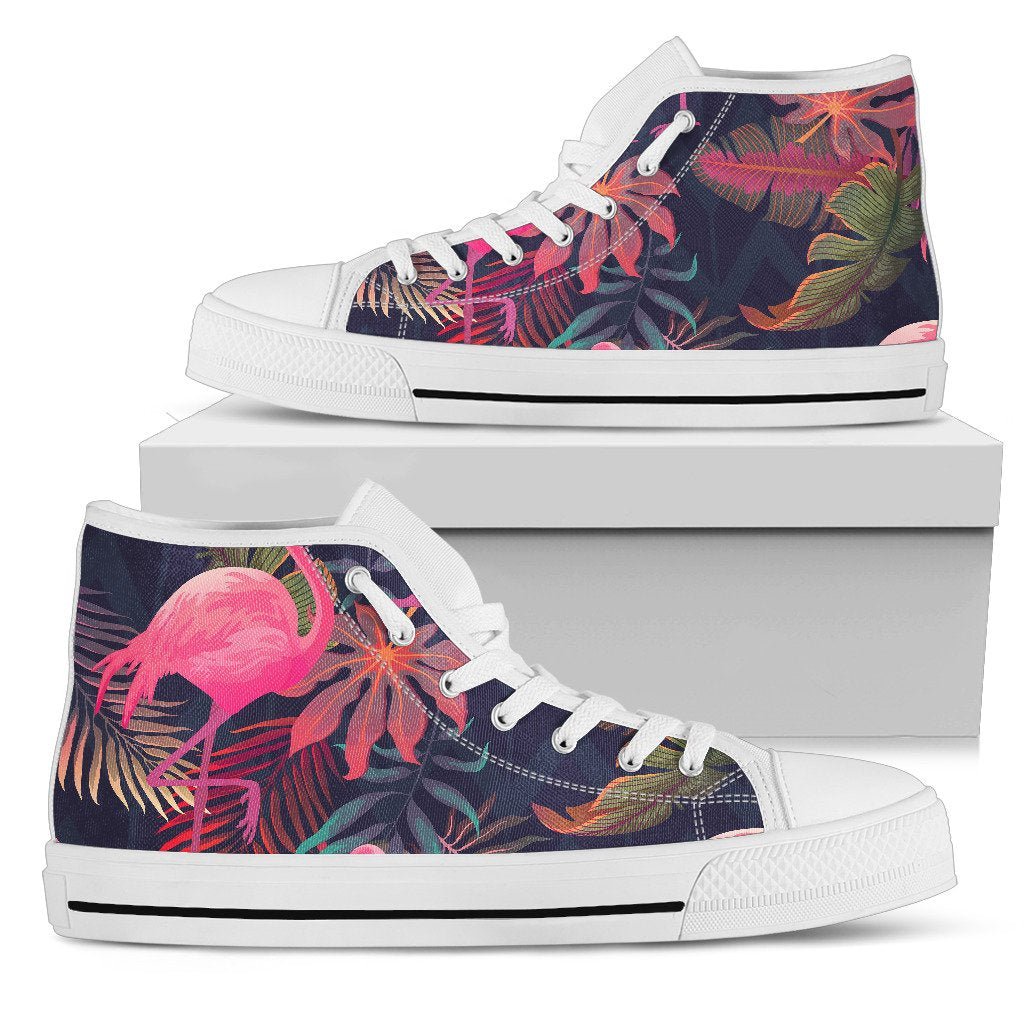 Flamingo Tropical Pattern Women High Top Shoes