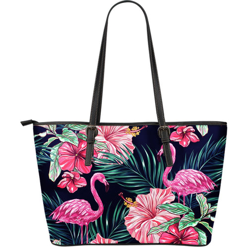 Flamingo Tropical Pink Hibiscus Large Leather Tote Bag