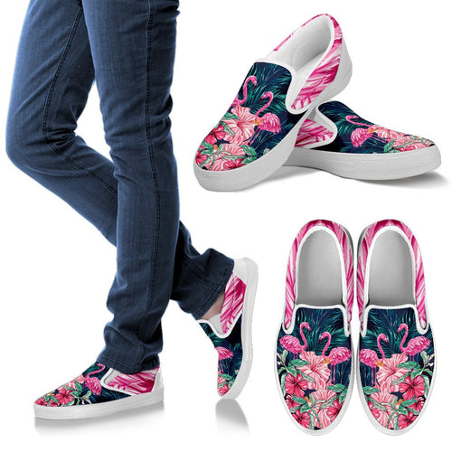Flamingo Tropical Pink Hibiscus Men Canvas Slip On Shoes