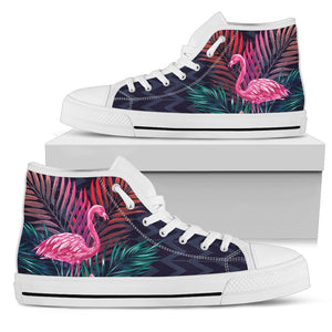 Flamingo Tropical Pink Hibiscus Men High Top Canvas Shoes