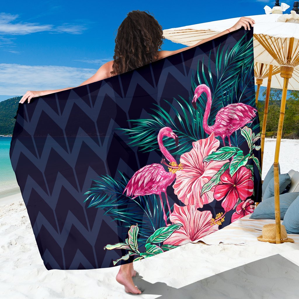 Flamingo Tropical Pink Hibiscus Beach Sarong Pareo Wrap