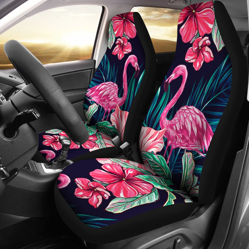 Flamingo Tropical Pink Hibiscus Universal Fit Car Seat Covers