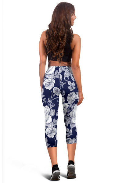 Floral Infrared Pattern Women Capris