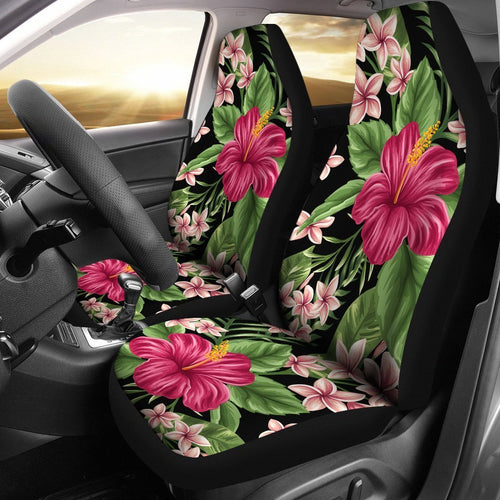 Floral Red Hibiscus Plumeria Hawaiian flower Universal Fit Car Seat Covers