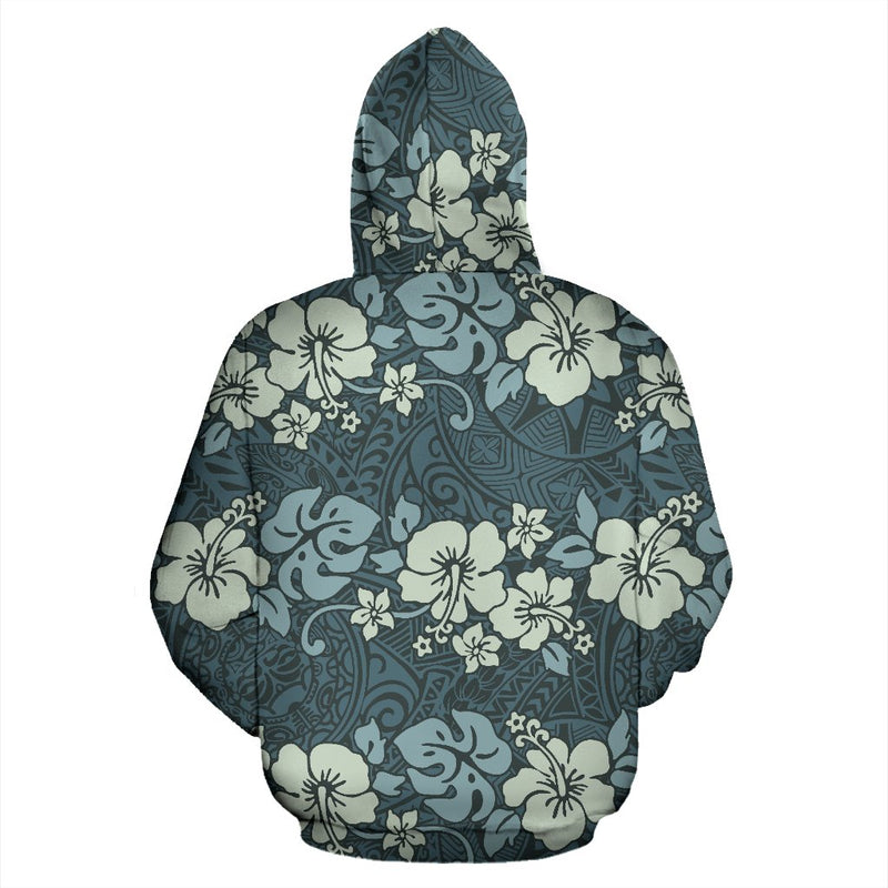 Flower Hawaiian Hibiscus Style Print Pattern All Over Zip Up Hoodie