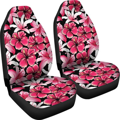 Flower Hawaiian Pink Red Hibiscus Print Universal Fit Car Seat Covers
