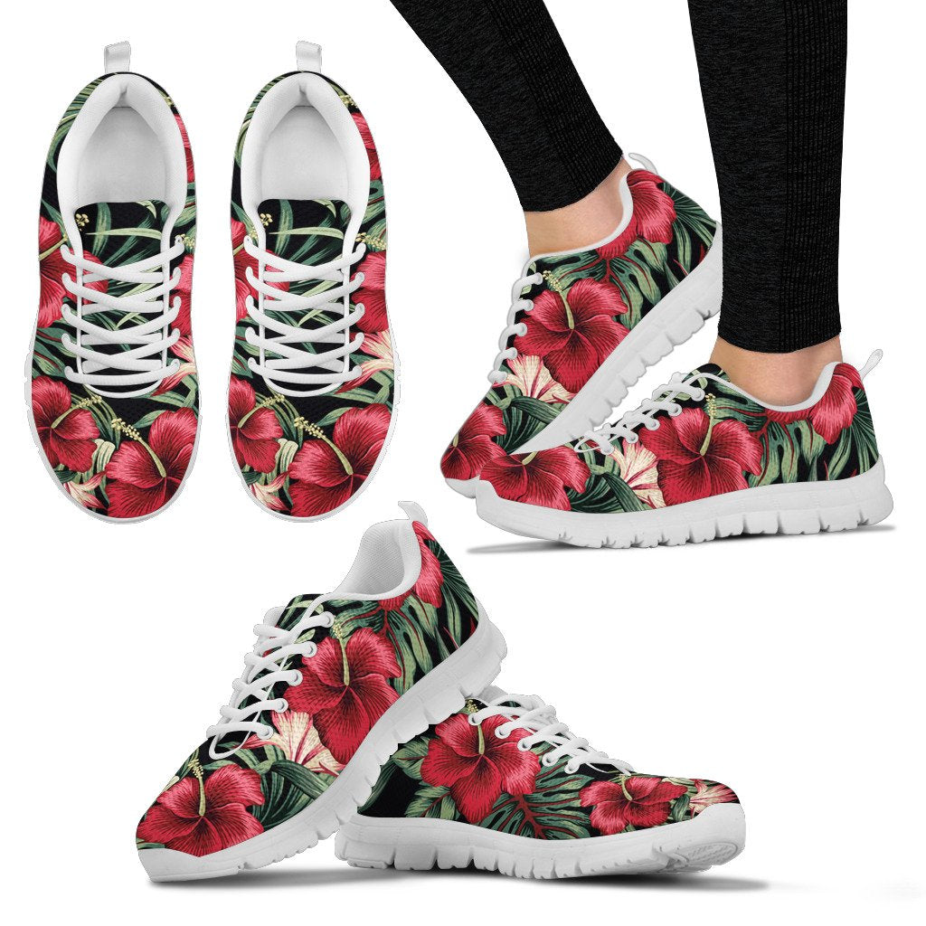 Flower Hawaiian Red Hibiscus Design Print Women Sneakers Shoes