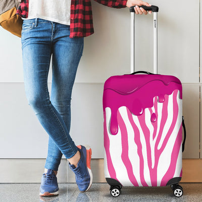 Flowing Pink paint Zebra Luggage Cover Protector