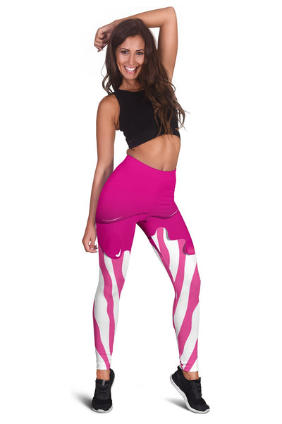 Flowing Pink Paint Zebra Women Leggings
