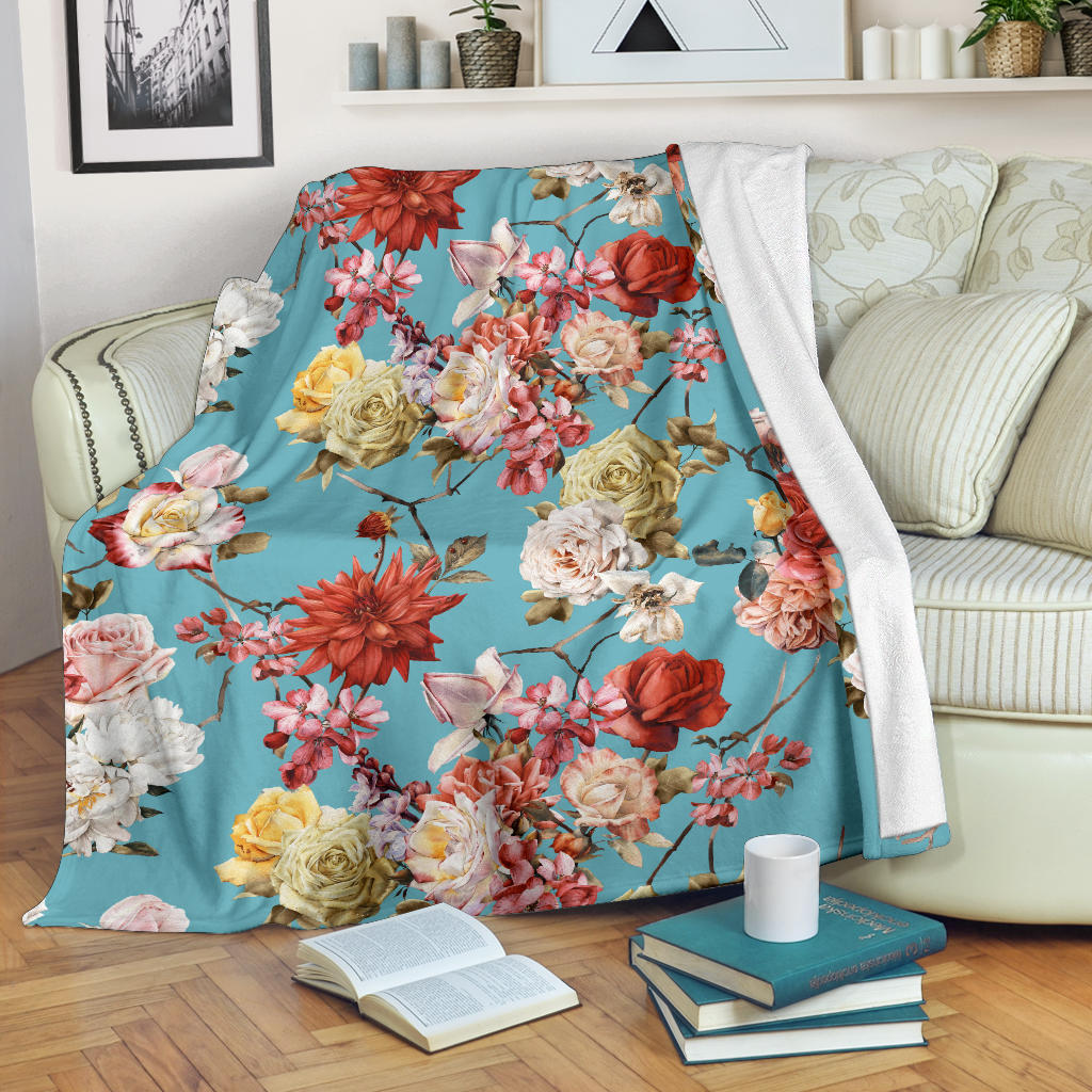 Summer Floral Pattern Print Design SF05 Fleece Blanket
