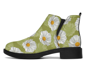 Daisy Pattern Print Design DS06 Ankle Boots