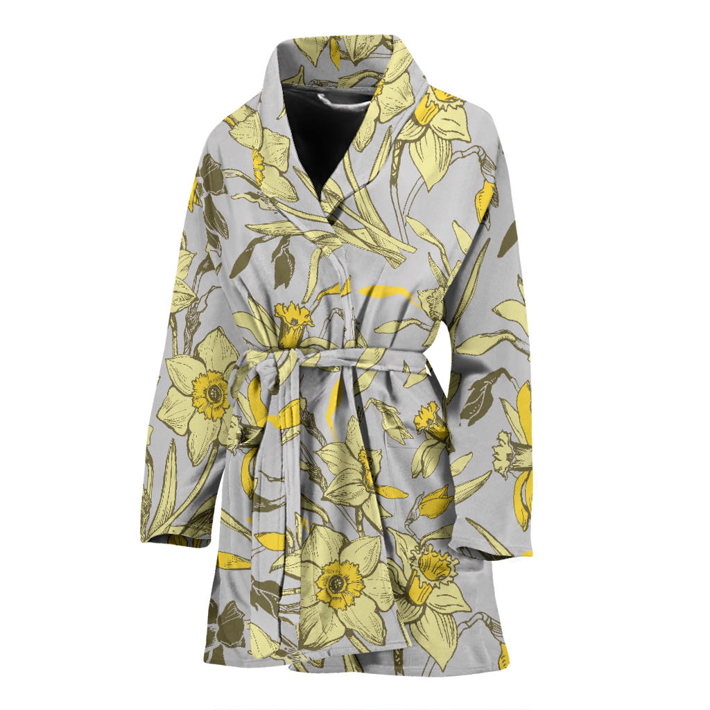 Daffodils Pattern Print Design DF05 Women Bathrobe