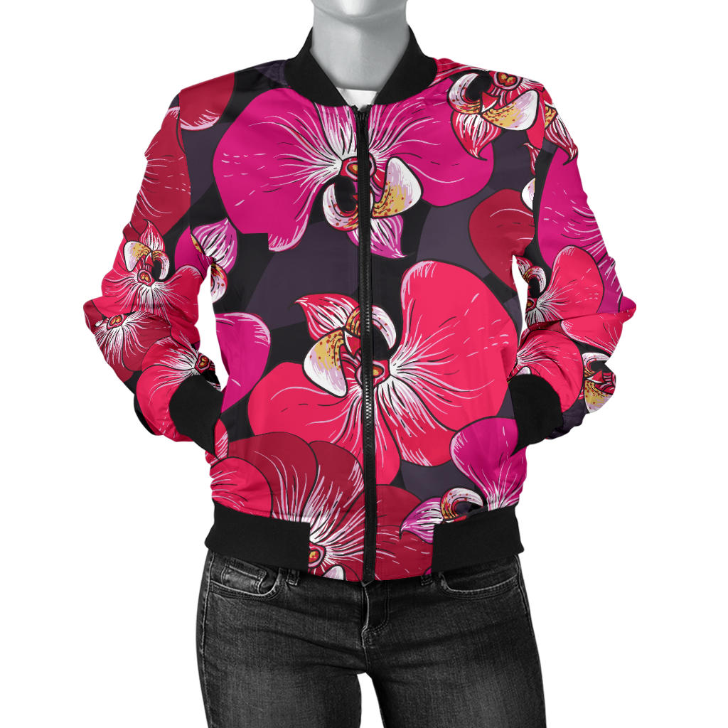 Orchid Red Pattern Print Design OR05 Women Bomber Jacket