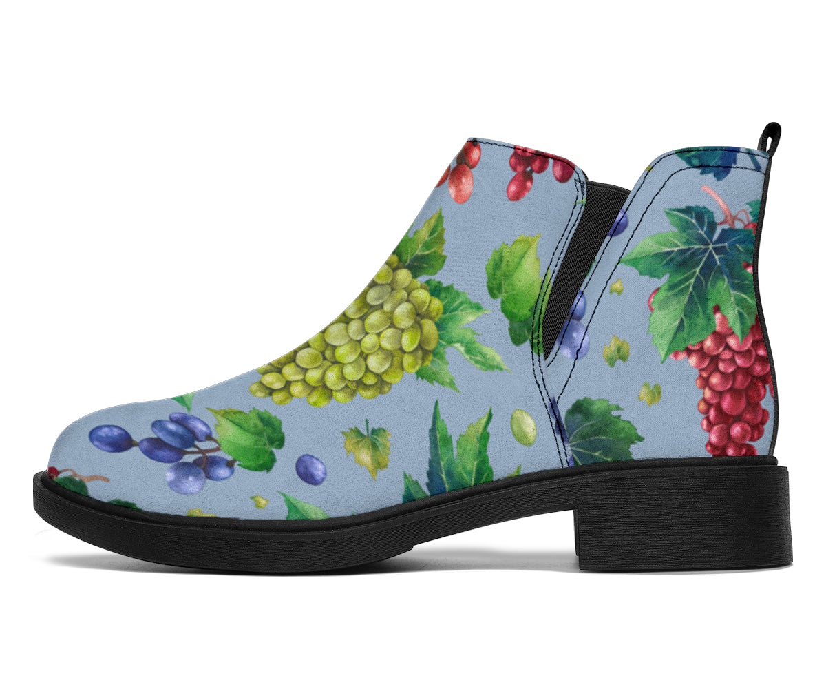 Grape Pattern Print Design GP06 Ankle Boots