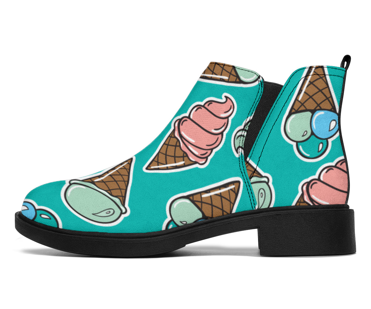 Ice Cream Pattern Print Design IC01 Ankle Boots