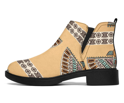 Native American Eagle Pattern Ankle Boots