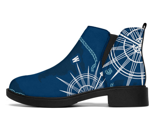 Nautical Compass Print Ankle Boots