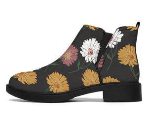 Daisy Pattern Print Design DS04 Ankle Boots