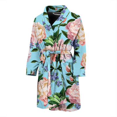Peony Pattern Print Design PE02 Men Bathrobe