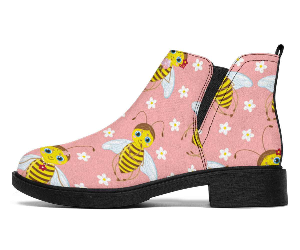 Bee Pattern Print Design BEE07 Ankle Boots