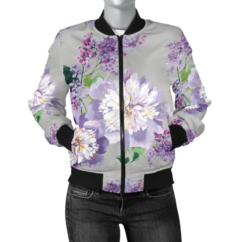 Lilac Pattern Print Design LI07 Women Bomber Jacket