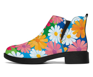 Daisy Pattern Print Design DS05 Ankle Boots