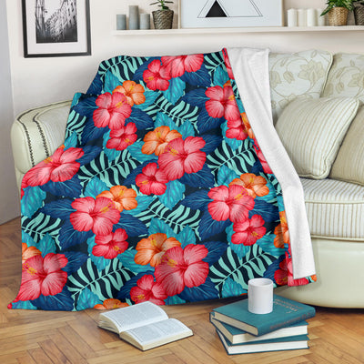 Red Hibiscus Pattern Print Design HB02 Fleece Blanket