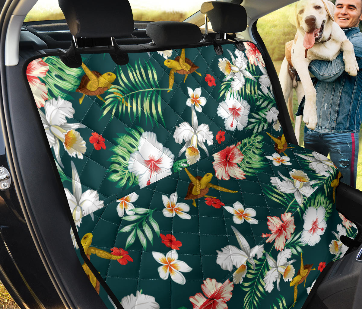 Hawaiian Flower Design with SeaTurtle Print Rear Dog  Seat Cover