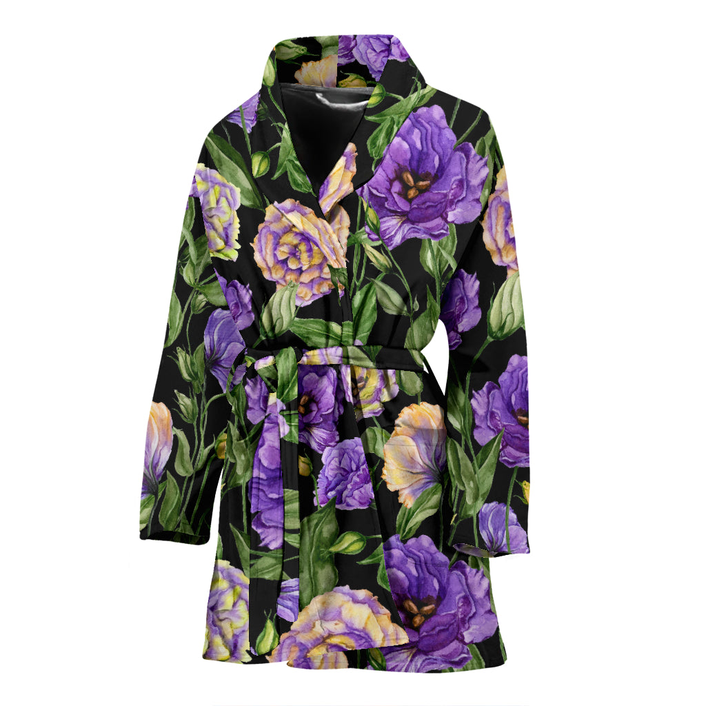 Lisianthus Pattern Print Design LT02 Women Bathrobe