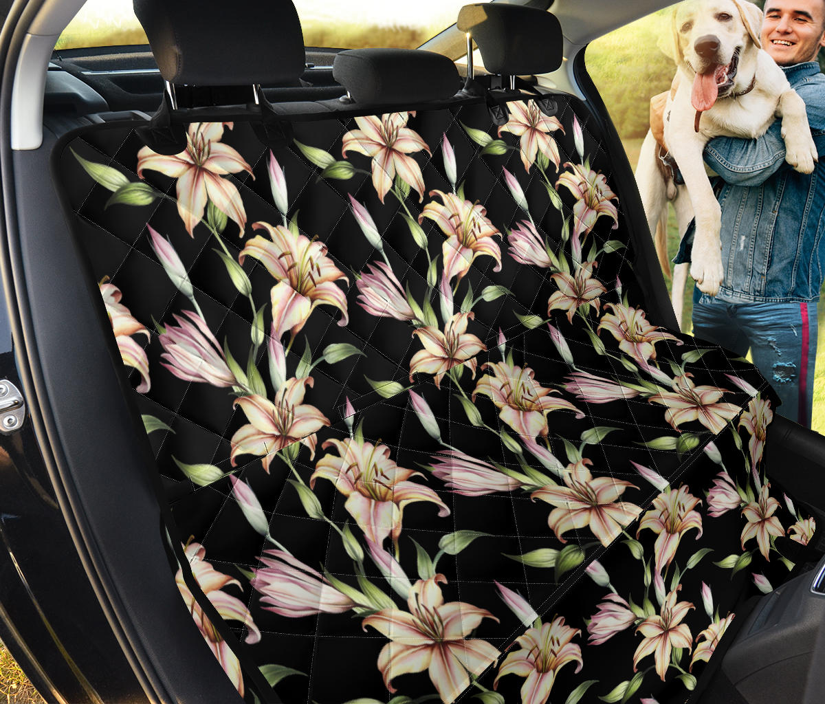 Lily Pattern Print Design LY05 Rear Dog  Seat Cover