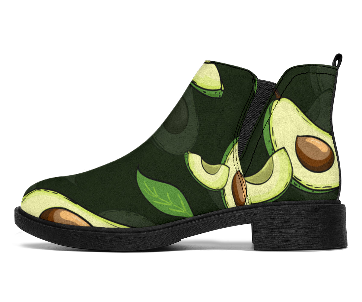 Avocado Pattern Print Design AC07 Ankle Boots