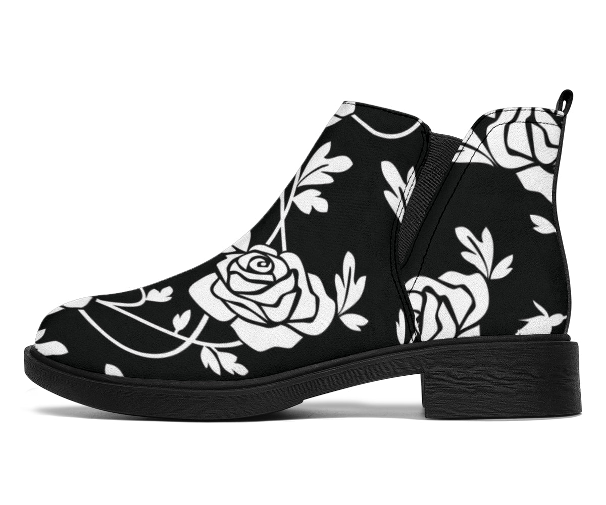 Rose Pattern Print Design RO013 Ankle Boots