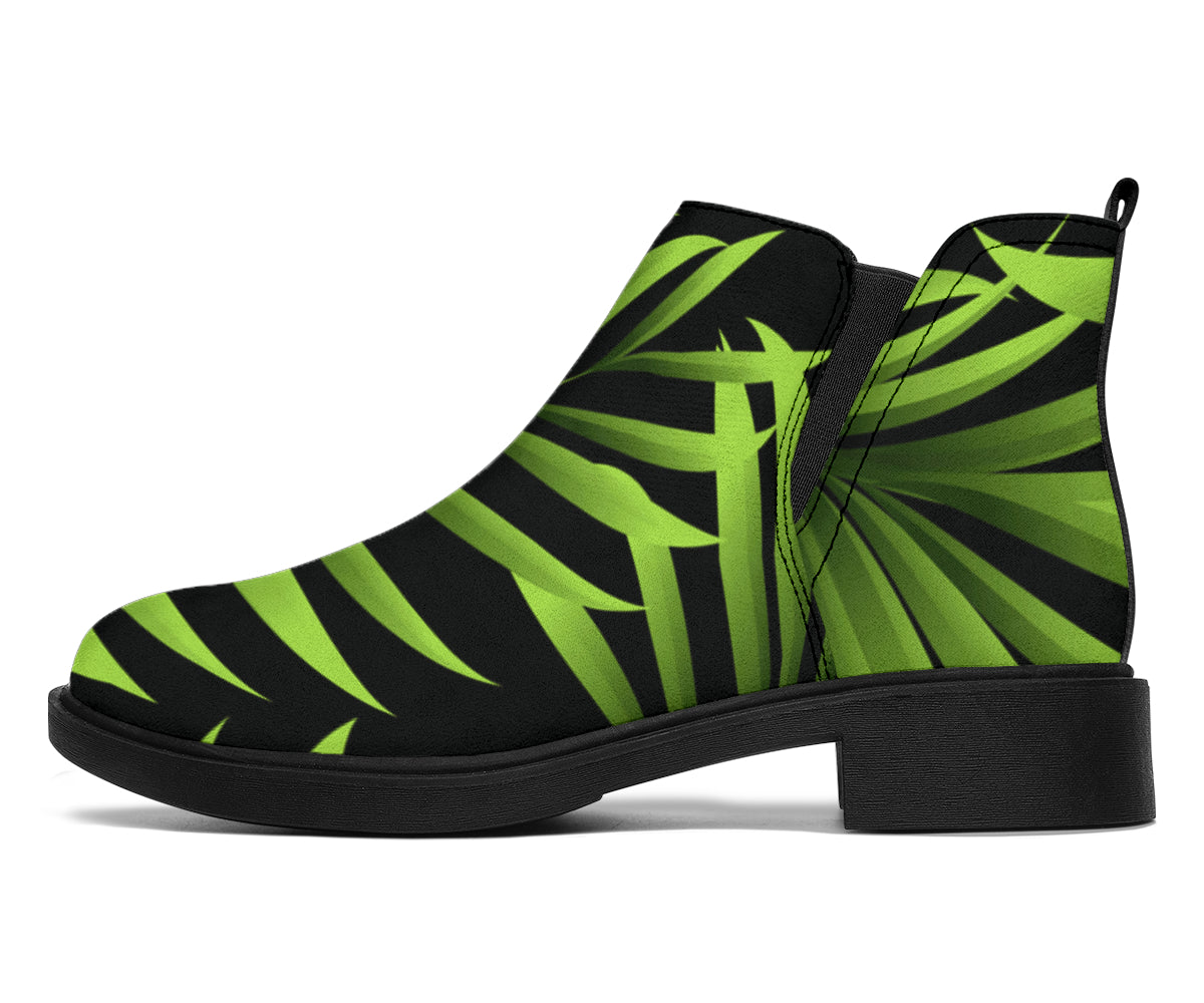 Green Neon Tropical Palm Leaves Ankle Boots