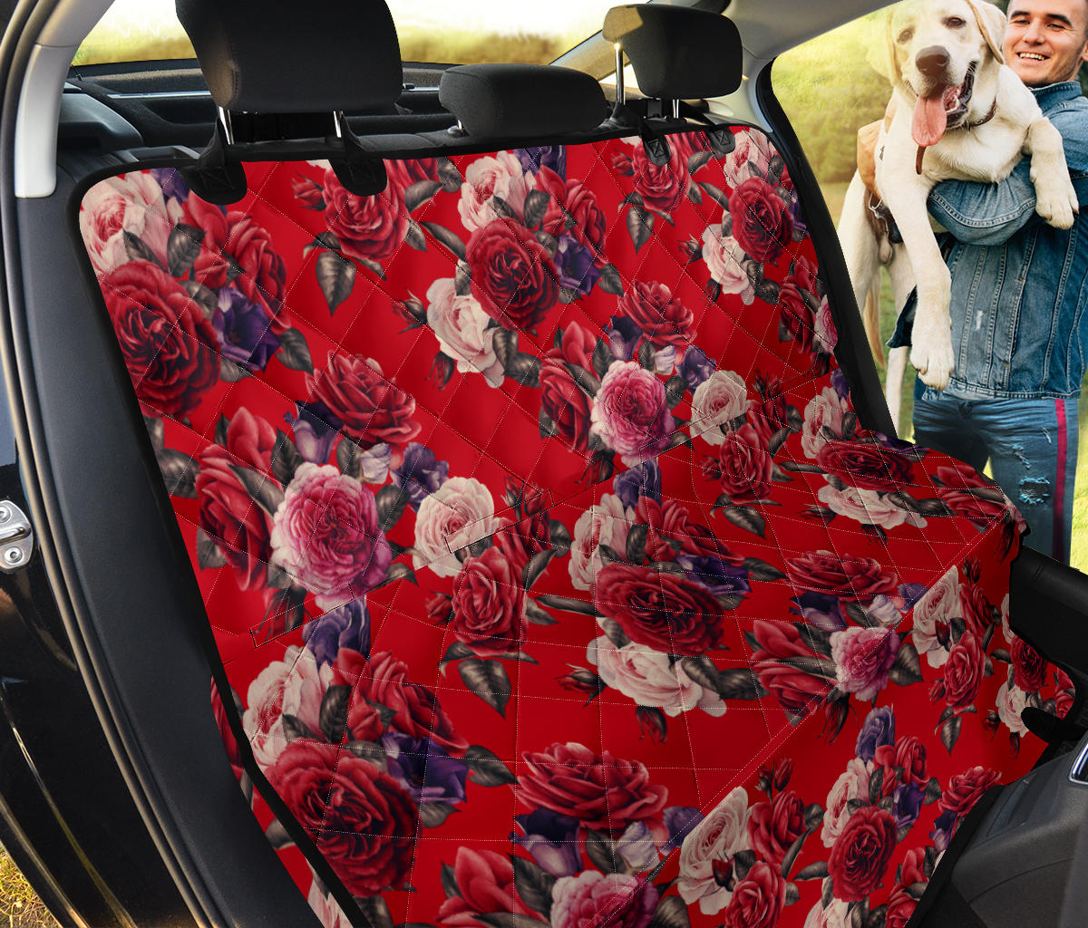 Rose Red Pattern Print Design RO07 Rear Dog  Seat Cover