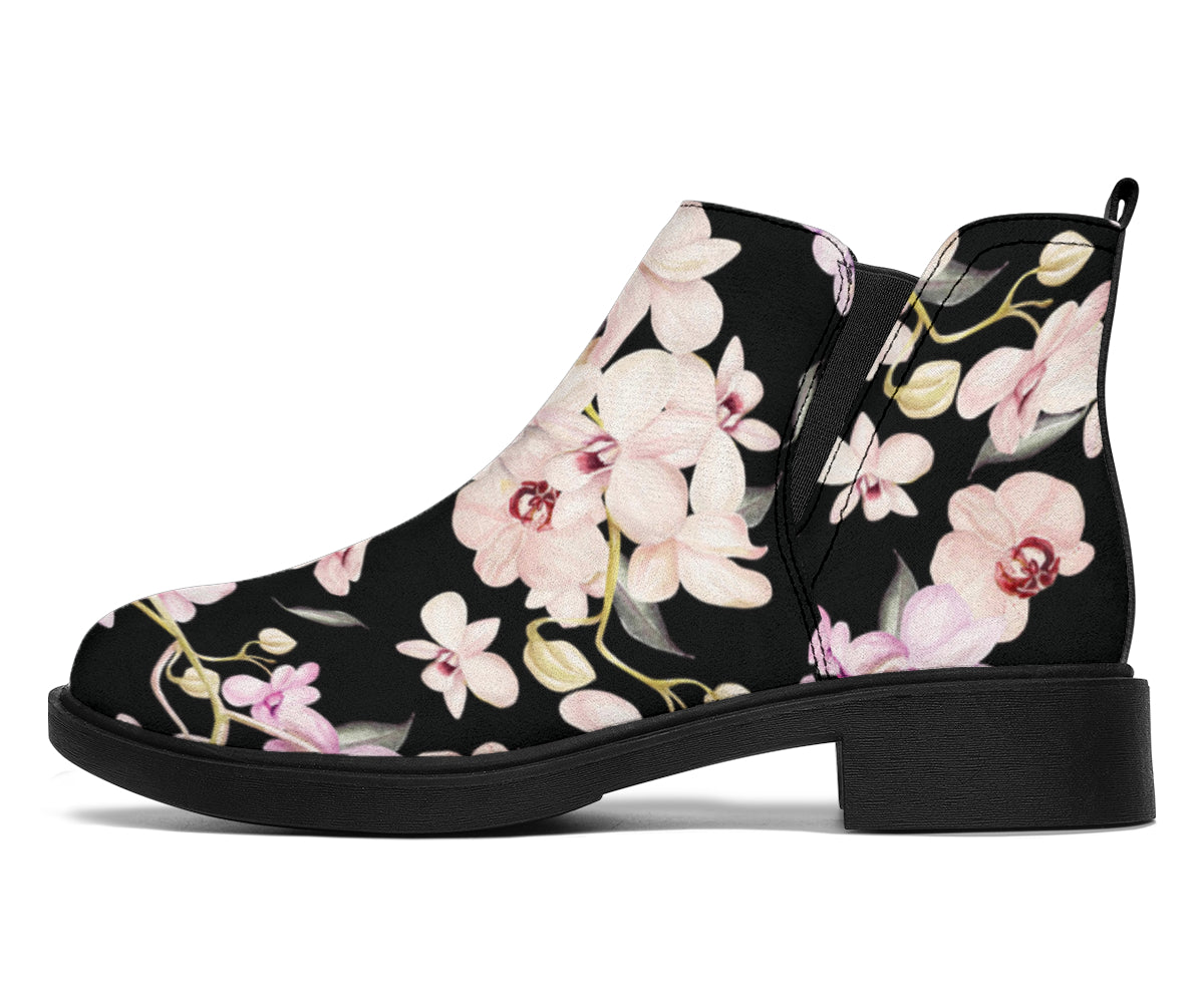 Orchid White Pattern Print Design OR03 Ankle Boots