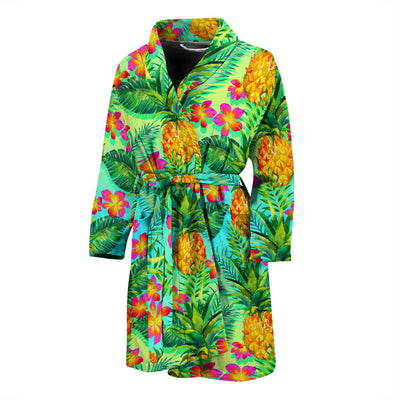 Pineapple Pattern Print Design PP010 Men Bathrobe