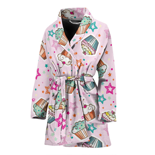 Cupcake Pattern Print Design CP03 Women Bathrobe