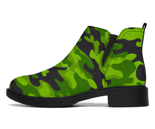 Green Kelly Camo Print Ankle Boots