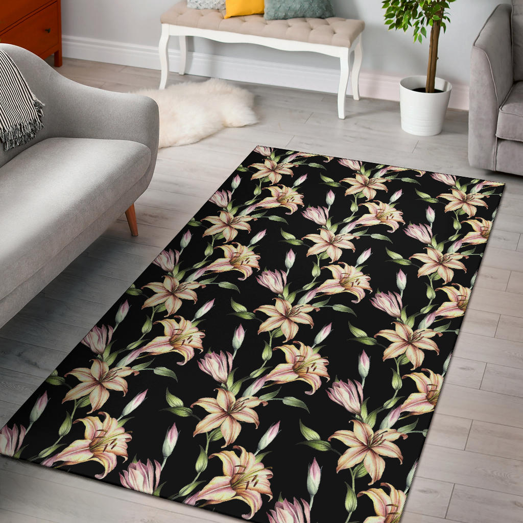 Lily Pattern Print Design LY05 Area Rugs