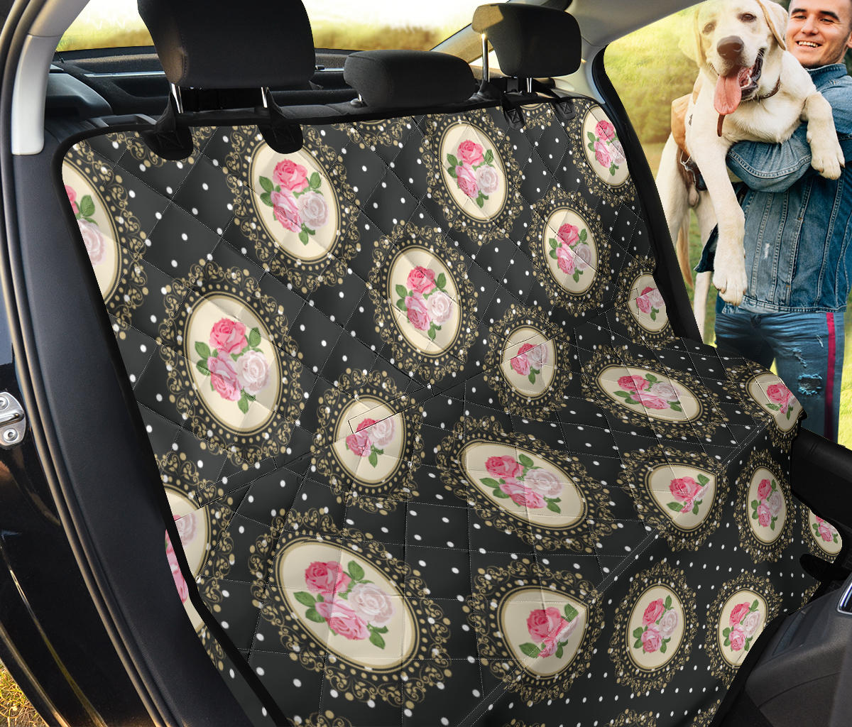 Rose Pattern Print Design RO015 Rear Dog  Seat Cover