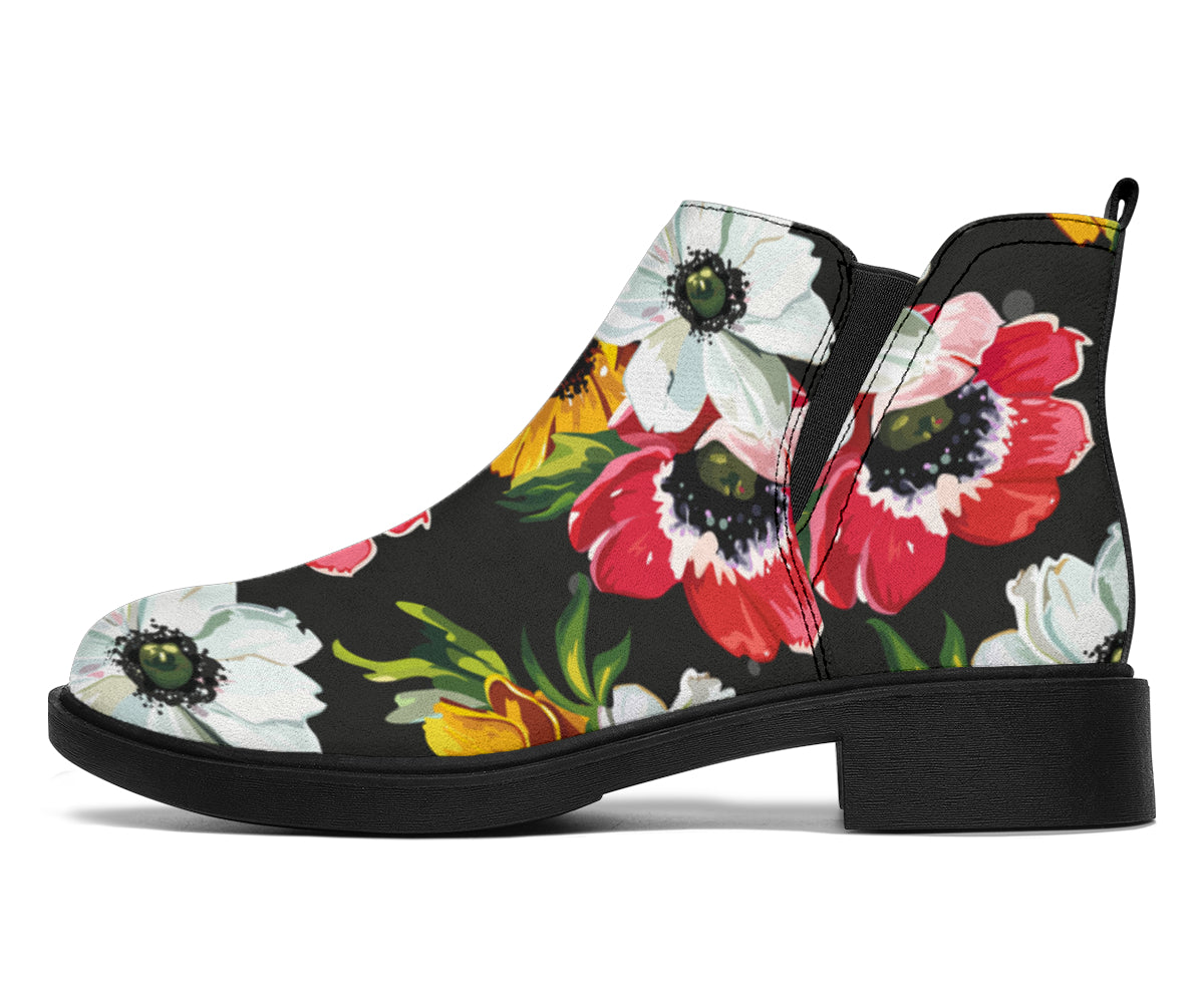 Anemone Pattern Print Design AM07 Ankle Boots