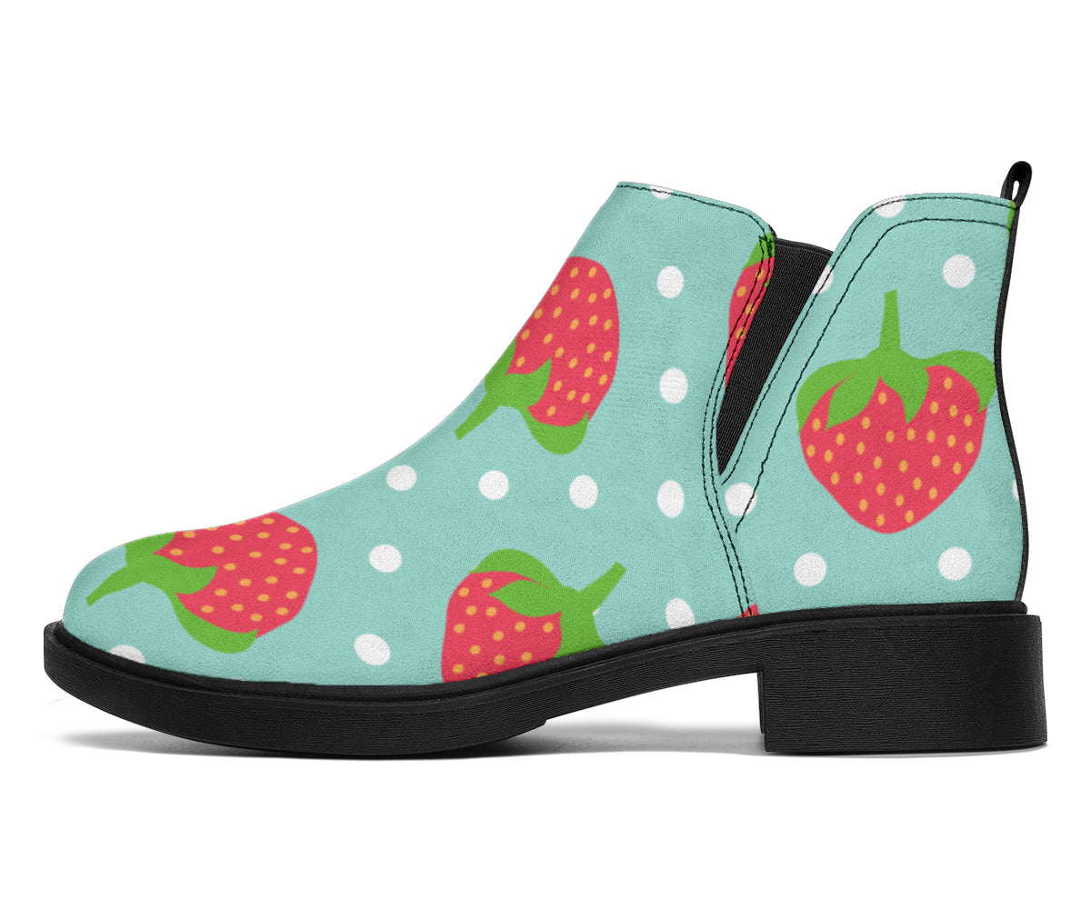 Strawberry Pattern Print Design SB06 Ankle Boots