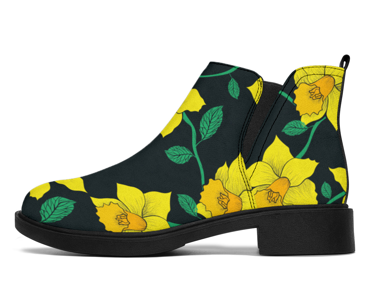 Daffodils Pattern Print Design DF03 Ankle Boots