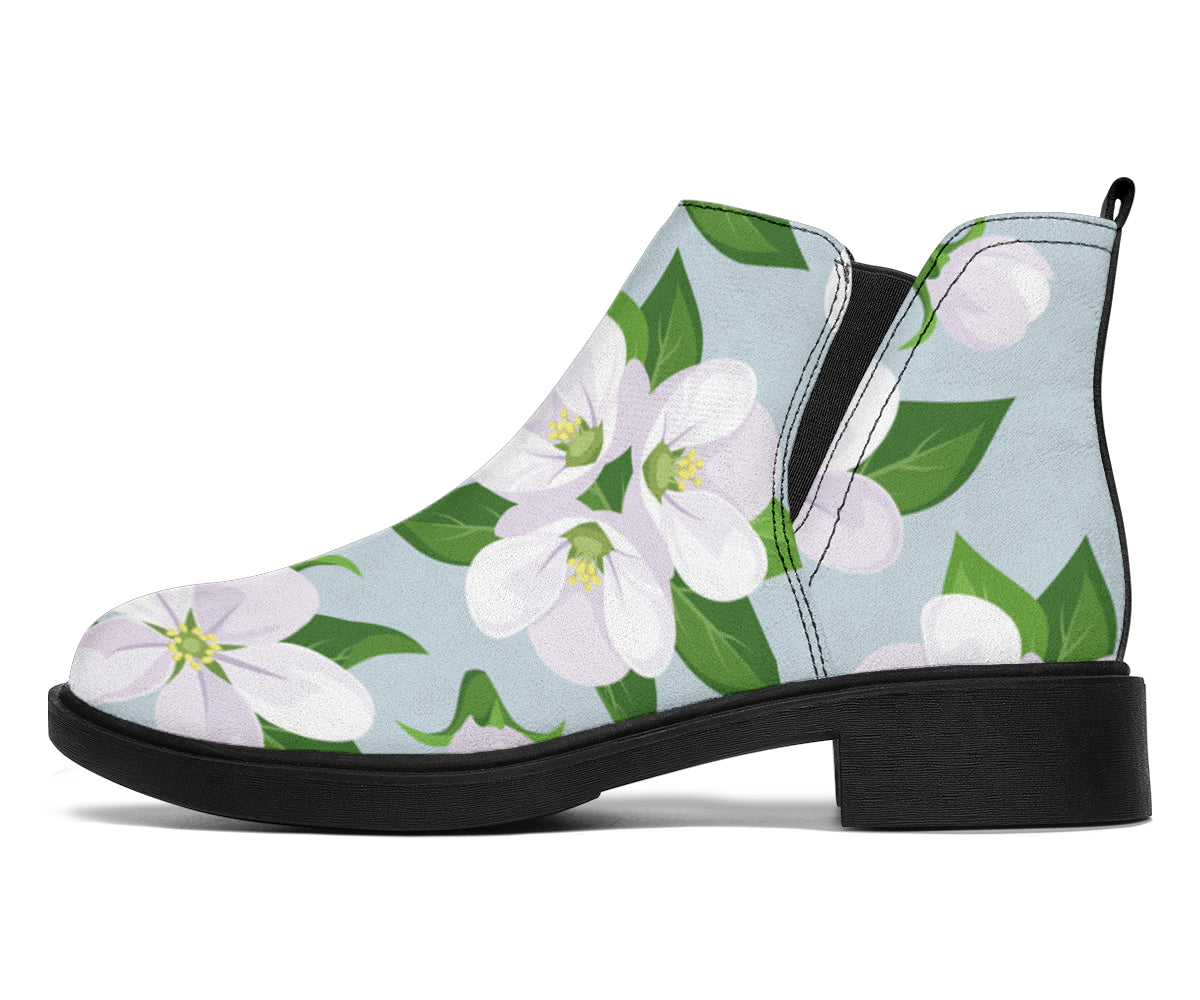 Apple blossom Pattern Print Design AB04 Ankle Boots