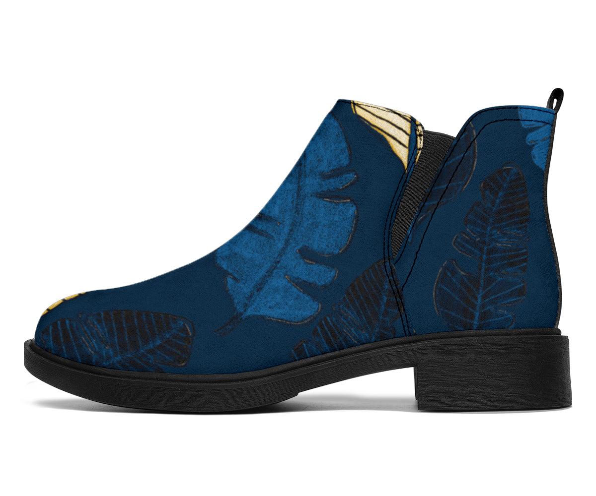Banana Leaf Pattern Print Design BL09 Ankle Boots